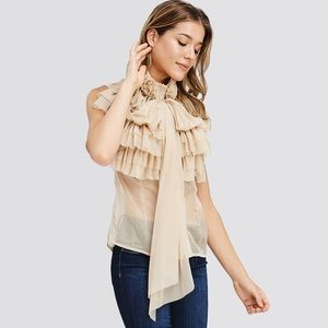 NWT // Runway style tiered ruffle blouse Taupe